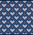 knitted seamless pattern with hearts for vector image vector image