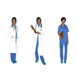 Medical Staff Woman Full Body African Color vector image vector image