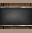 menu blackboard on a wooden background vector image vector image