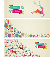 Merry Christmas elements template web banners set vector image vector image