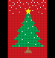 merry christmas tree postcard block pattern vector image