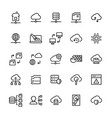 network hosting icon set in line style vector image