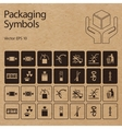 packaging symbols on cardboard vector image vector image