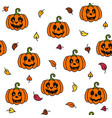 pumpkin and leaf autumn halloween seamless pattern vector image vector image
