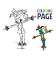 scarecrow and bird cartoon coloring page vector image vector image