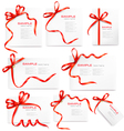 Set of card notes with red gift bows with ribbons vector image vector image