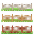 set of farm or garden fences isolated vector image