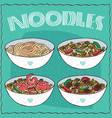 set of four asian noodle soups vector image vector image