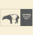 silhouette tapir in grunge design style animal vector image vector image