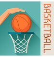Sports hand shot basketball ball through hoop vector image vector image