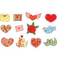 sticker set for valentine s day doodle cartoon vector image vector image