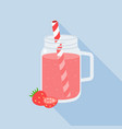 Strawberry juice in mason jar flat design