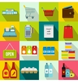 Supermarket icons set flat style vector image vector image