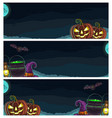 three horizontal posters halloween with engraving vector image