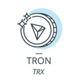 tron cryptocurrency coin line icon of virtual vector image vector image
