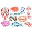 various seafood set of fish vector image vector image