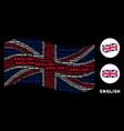 waving uk flag mosaic of english texts vector image