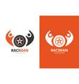 wheel and people logo combination unique vector image
