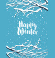winter banner with snow-covered branches tree vector image vector image