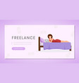 working from home landing page template distance vector image vector image