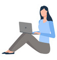 young woman with laptop on floor isolated vector image vector image