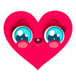 pink heart in kawaii style vector image