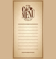 menu cafe design vintage card vector image