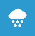 cloud rain icon white on the blue background vector image