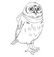owl graphic black white vector image