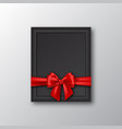 3d realistic picture frame with red bow vector image vector image