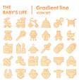 baby life flat icon set newborn symbols vector image