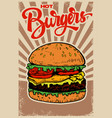 best burgers hamburger on grunge background vector image