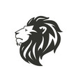 black lion silhouette isolated on white background vector image