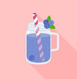 blueberry smoothie in mason jar vector image vector image