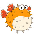 cartoon puffer fish vector image vector image