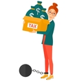 Chained woman with bags full of taxes vector image vector image
