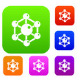 chemical and physical molecules set color vector image vector image