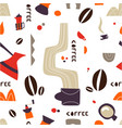 coffee pattern with doodle tea pots and cups vector image