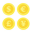 coins dollar euro yen vector image