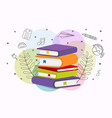 colorful school book pile education cartoon vector image