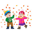 couple enjoying golden autumn fall season vector image