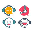 customer support service online chat icons vector image vector image