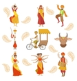 Dancing Holy Cow And Other Indian Cultural Symbol vector image vector image