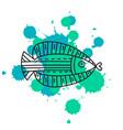 doodle fish on color splash vector image