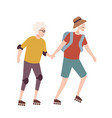 elderly couple on roller skates pair of old man vector image