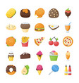 food and drinks flat icons set vector image
