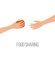 food sharing donating hunger poverty concept hand vector image
