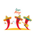 funny chili peppers in sombrero play musical vector image vector image