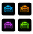 glowing neon taxi car icon isolated on white vector image vector image