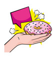 hand holding donut vector image vector image